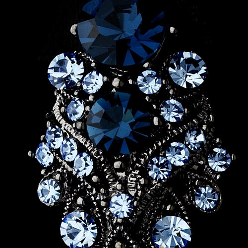 Silver Navy Blue Rhinestone Clip On Earrings E 1334***Discontinued***