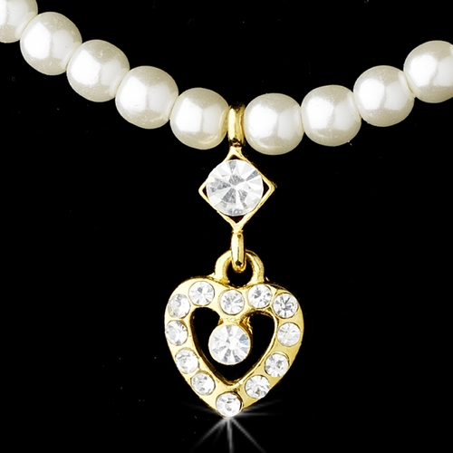 Necklace Earring Set 406 C Gold Ivory***Discontinued***