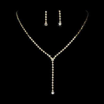 * Necklace Earring Set 313 Gold Clear