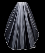"VR 1E White - Rattail Satin Corded Edge Veil, 1 Layer Elbow Length Veil (30"" long)"