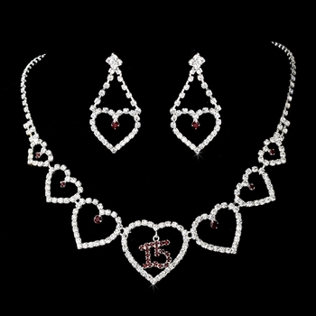 Burgundy Rhinestone Sweet 15 Quinceañera Heart Necklace & Earring Set NE 460