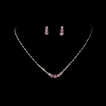 * Necklace Earring Set 305 Silver Light Amethyst or Dark Amethyst