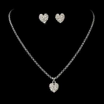 Necklace Earring Set 71696 Silver Clear