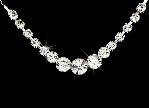 Simple & Sparkling Silver Crystal Jewelry Set NE 305 ** Only 1 Left S CL ***