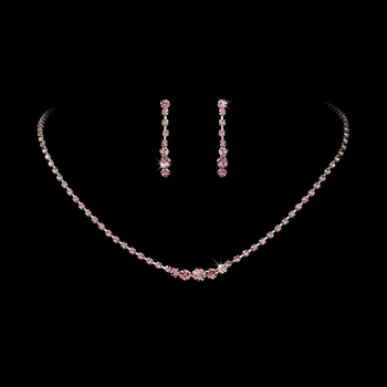 * Necklace Earring Set 337 Silver Pink