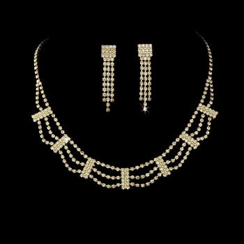 * Necklace Earring Set 364 Gold Clear