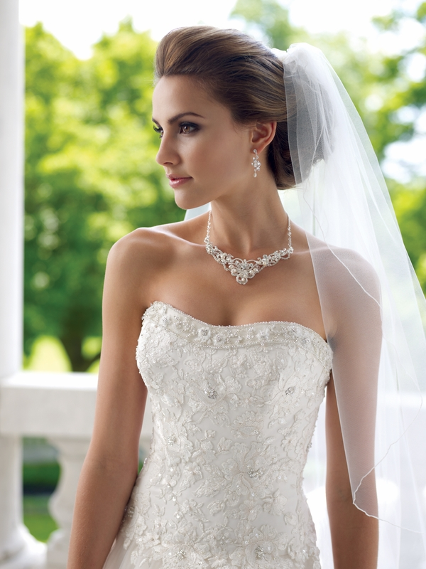 Wedding Dresses With Jewelry : Silver freshwater pearl crystal jewelry set ne