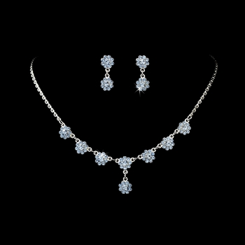 * Necklace Earring Set 331 Silver Light Blue