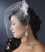 Twin Feather Flower Fascinator Clip with Russian Style Cage Veil 7796