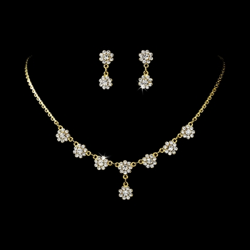 * Necklace Earring Set 331 Gold Clear