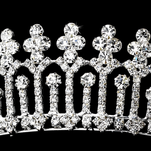* Magnificient Rhinestone Covered Pillar Tiara Headpiece in Silver 8315***Discontinued***