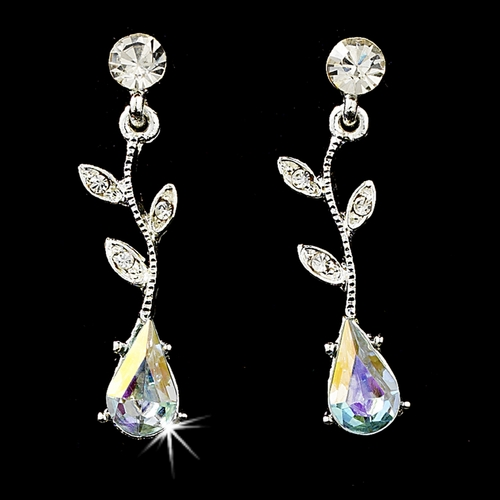 Necklace Earring Set 328 Dangle Silver Clear AB
