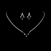Silver Red Rhinestone Necklace & Earring Set NE 341