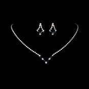 Silver Navy Rhinestone Necklace & Earring Set NE 341