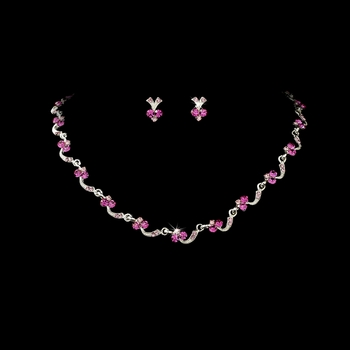 Necklace Earring Set 382 Silver Pink