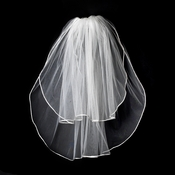 "VR S White - Rattail Satin Corded Edge Veil, 2 Layers Shoulder Length Veil (20"" x 25"" long)"