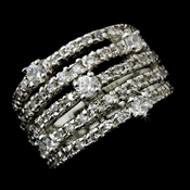 Fabulous Silver Clear Five Row CZ Band Ring 3833
