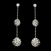 * Lovely Silver Clear Crystal Ball Drop Earrings E 980