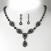 * Stunning Black Pave Crystal Jewelry Set NE 908