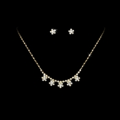 * Gold Rhinestone Necklace & Earring Set NE 118
