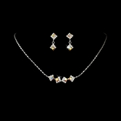 * Silver & AB Accented Bridal Jewelry Set NE 327