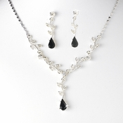 Necklace Earring Set 328 D Silver Clear Black
