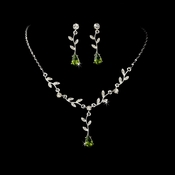Silver Clear Green Dangle Floral Bridal Set NE 328