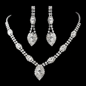 Necklace Earring Set 11153 Silver Clear
