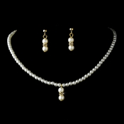 Lovely Children's Gold Ivory Pearl Necklace & Earring Set 5120