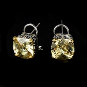 Silver with Lt Yellow Stones Classic Look Designer Earrings E 4115 Light Yellow