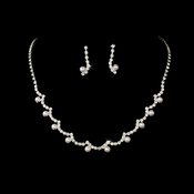 * Necklace Earring Set NE 555 Silver White