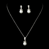 Necklace Earring Set 71677 Silver White