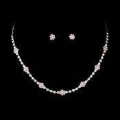Necklace Earring Set 70155 Silver Pink