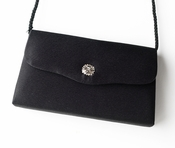 * Exquisite Black Satin Evening Bag w/ Rhinestone Accent 216 ***Discontinued***