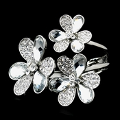 Rhodium Flower Bracelet With Shadow Crystals Clear Crystals 8538