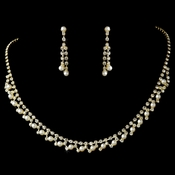 * Necklace Earring Set 229 Gold Ivory