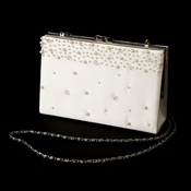 * Striking Ivory Satin Beaded Evening Bag 219