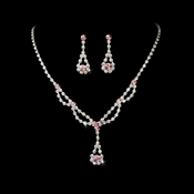 Necklace Earring Set 1093 Silver Pink