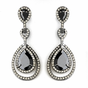 Antique Silver Black Clear Earring Set 8484