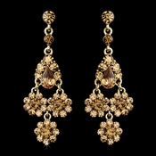 Dazzling Gold & Light Brown Chandelier Earrings E 940