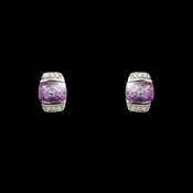 Gorgeous Silver Lavender Crystal Earrings 6504