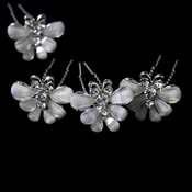 Silver Crystal & Sheer White Butterfly Hair Pin 1461