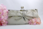 Silver Matte Satin Beaded Bow Bridal Evening Bag EB 301