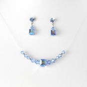 Light Blue Illusion Necklace & Earring Set NE 233
