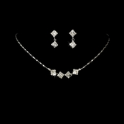 * Silver & Clear Accented Bridal Jewelry Set NE 327