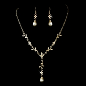 Gold Clear Necklace Earring Set 72030