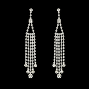 * Glamorous Silver Clear Dangle Earrings E 20426