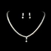 * Necklace Earring Set 126 Silver Ivory