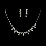 * Silver Clear Rhinestone Bridal Jewelry Set NE 324