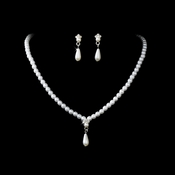 * Necklace Earring Set NE 128 Silver White